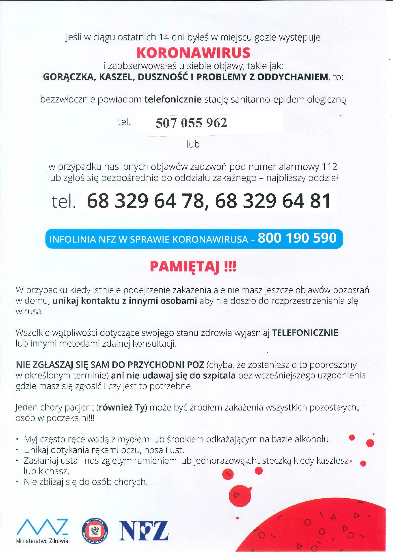 Ilustracja do informacji: Koronawirus - ważne informacje